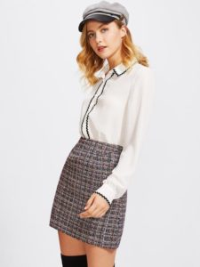 image of tweed winter skirt_how to style winter skirts