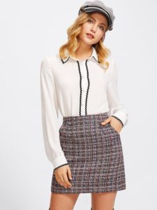 image of a tweed winter skirt_how to style winter skirts